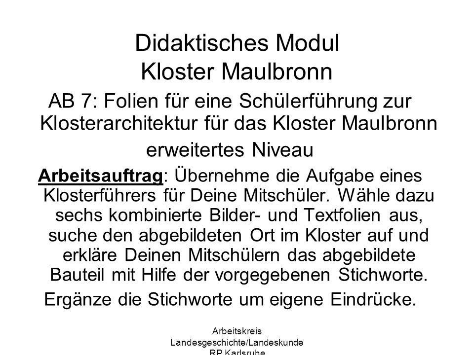Didaktisches Modul Kloster Maulbronn