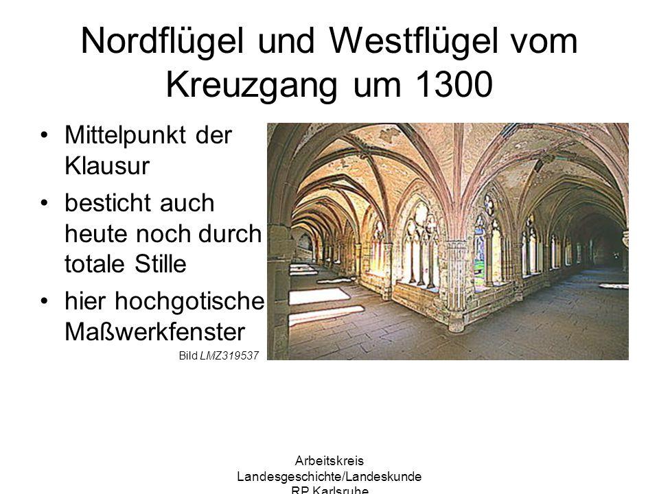 Nordflügel und Westflügel vom Kreuzgang um 1300