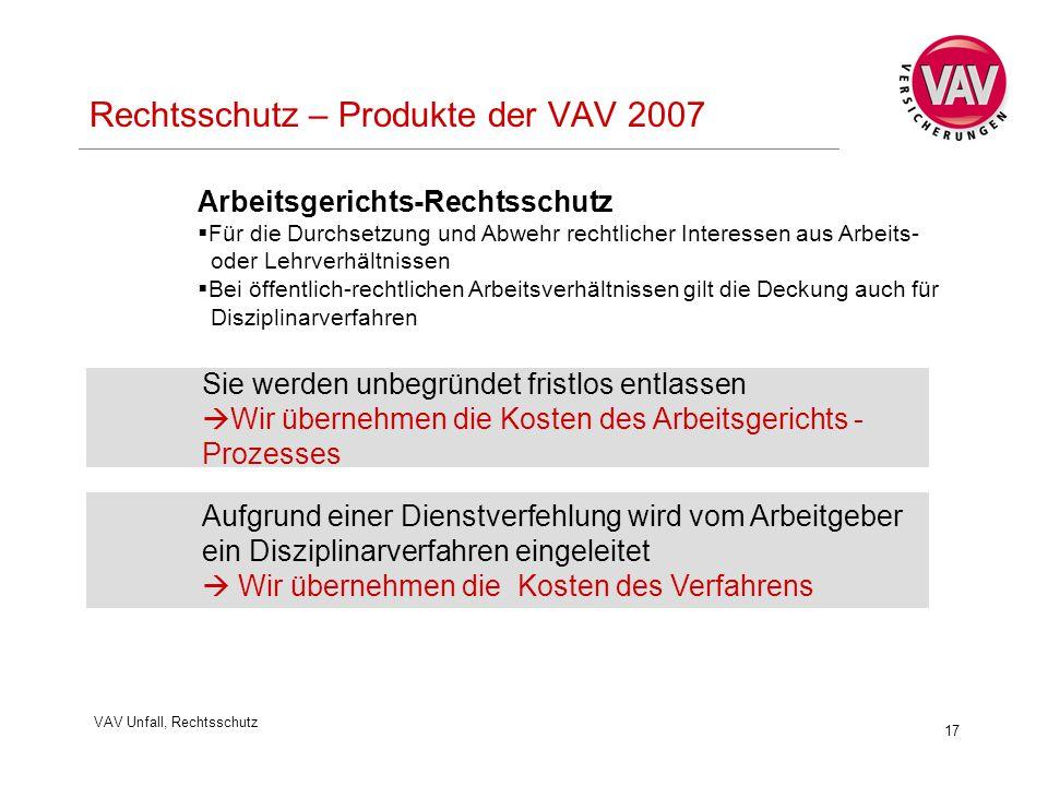 Rechtsschutz – Produkte der VAV 2007