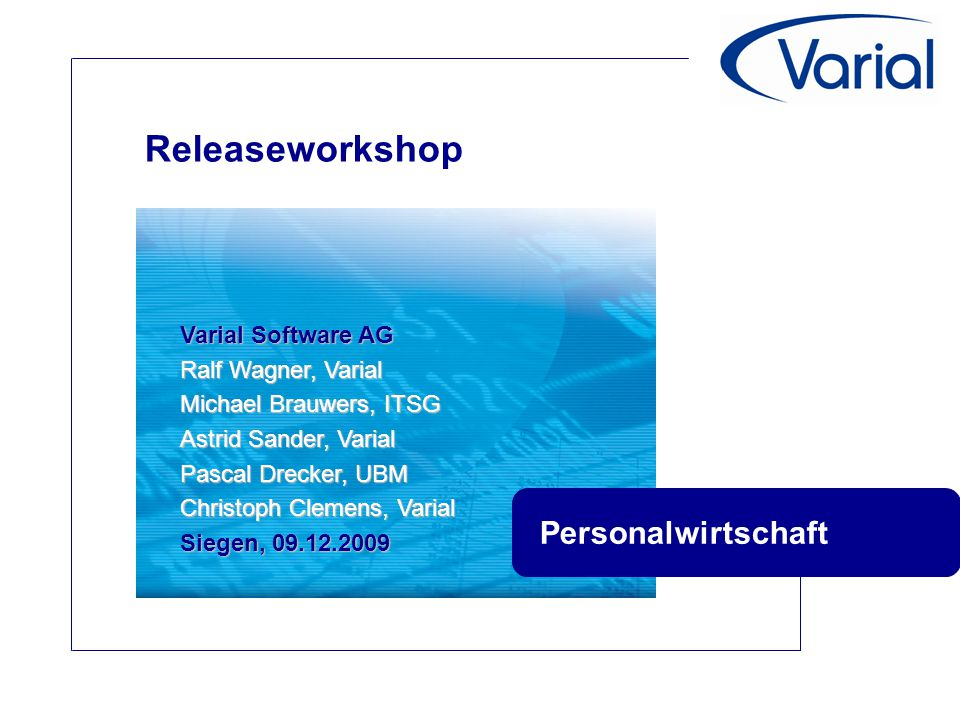 Releaseworkshop Personalwirtschaft Varial Software AG