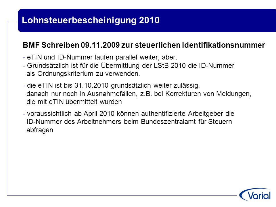 Lohnsteuerbescheinigung 2010
