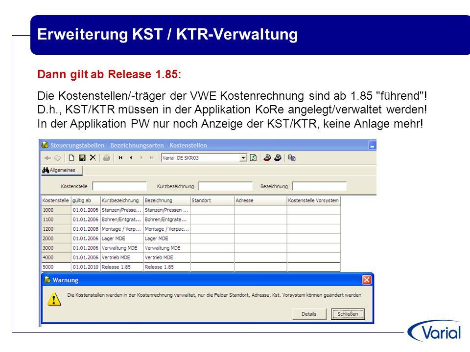 Erweiterung KST / KTR-Verwaltung