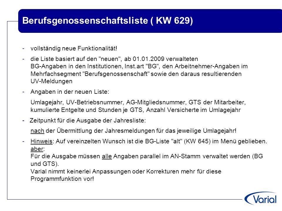 Berufsgenossenschaftsliste ( KW 629)