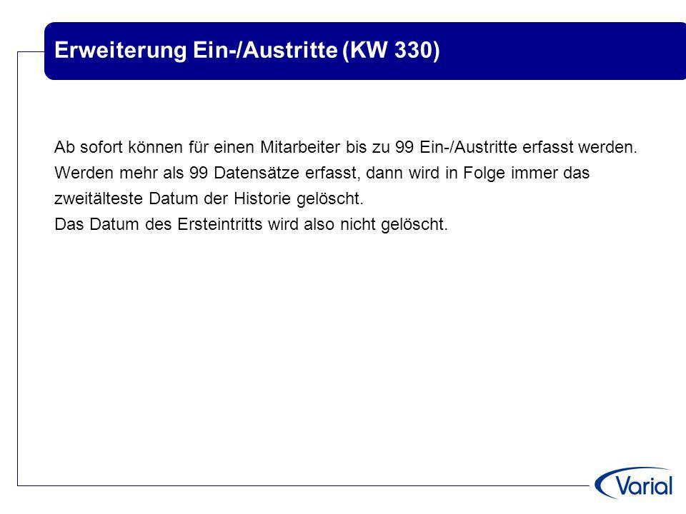 Erweiterung Ein-/Austritte (KW 330)