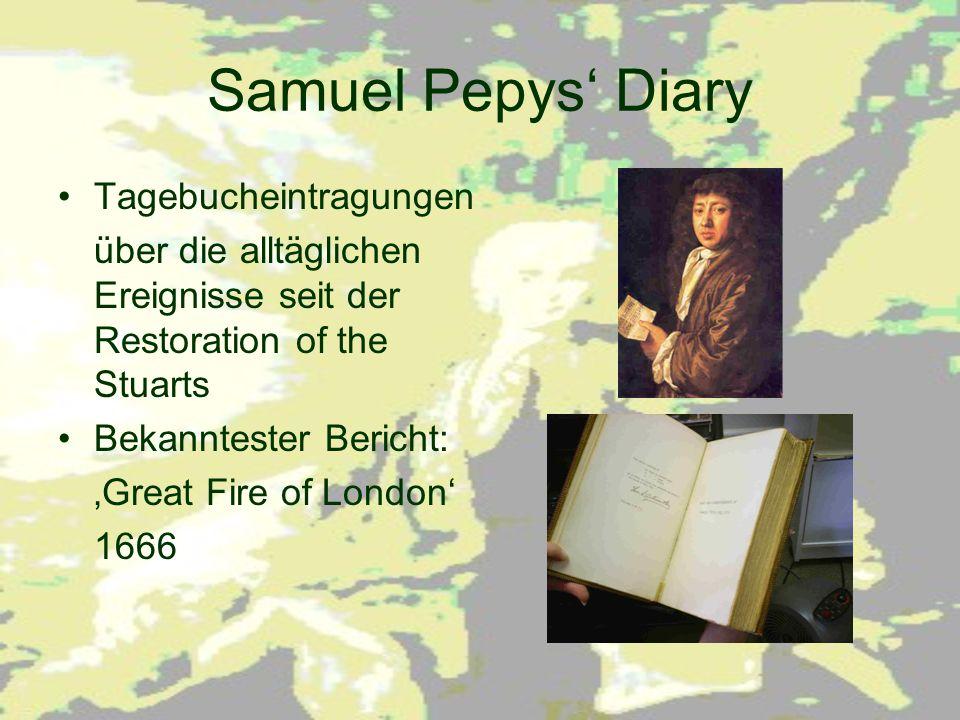 Samuel Pepys' Diary Tagebucheintragungen