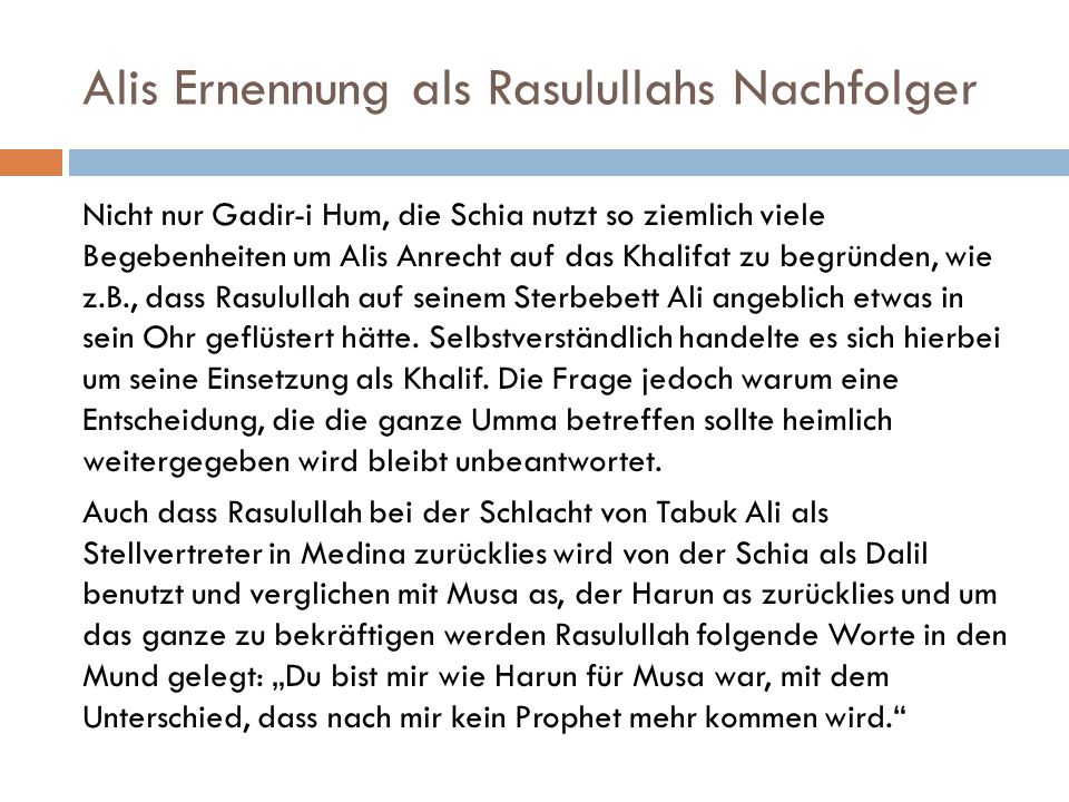 Alis Ernennung als Rasulullahs Nachfolger