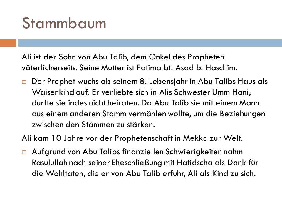 Stammbaum Ali ist der Sohn von Abu Talib, dem Onkel des Propheten väterlicherseits. Seine Mutter ist Fatima bt. Asad b. Haschim.