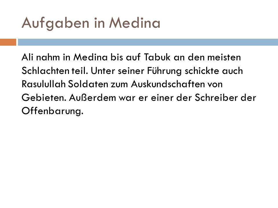 Aufgaben in Medina