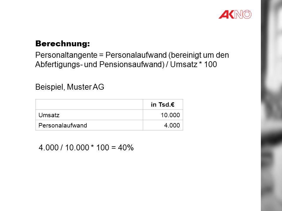 Berechnung: Personaltangente = Personalaufwand (bereinigt um den Abfertigungs- und Pensionsaufwand) / Umsatz * 100.