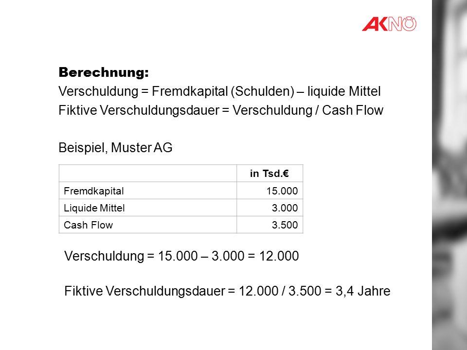 Verschuldung = Fremdkapital (Schulden) – liquide Mittel