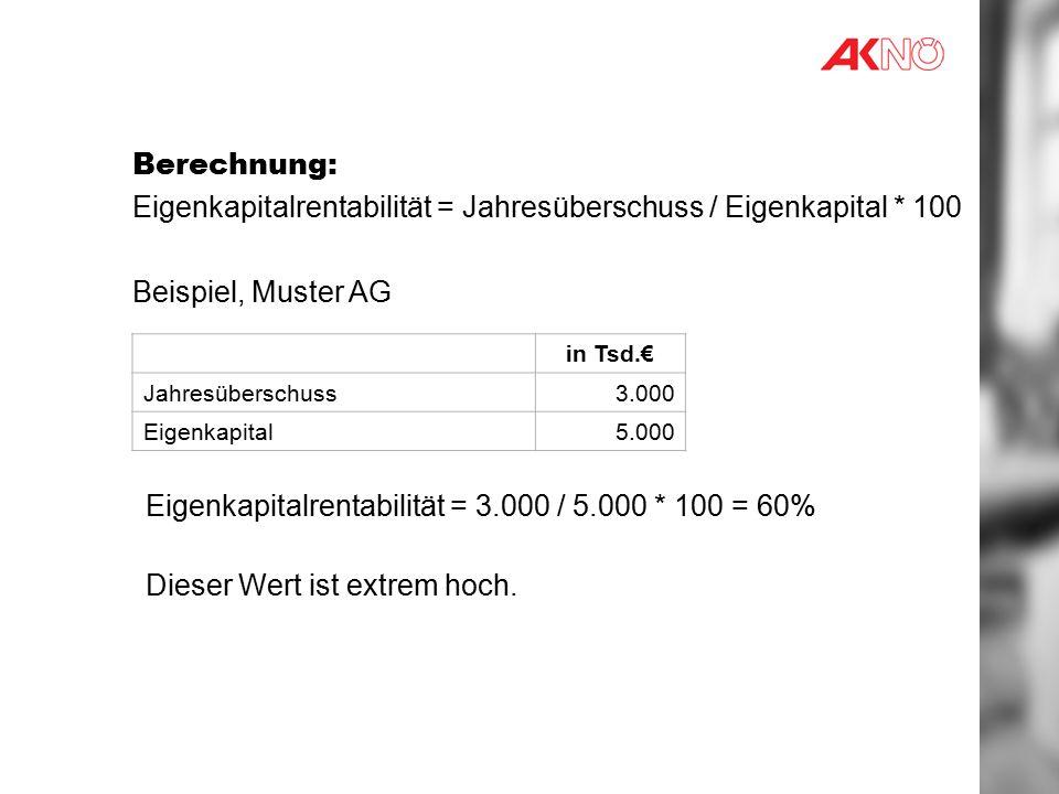 Eigenkapitalrentabilität = Jahresüberschuss / Eigenkapital * 100