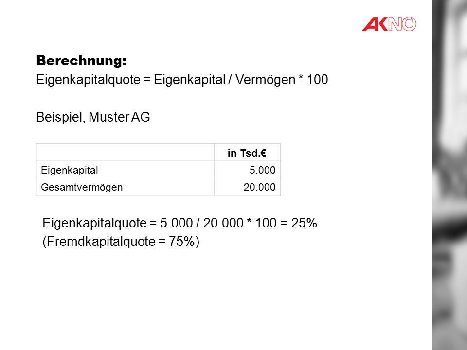 Eigenkapitalquote = Eigenkapital / Vermögen * 100 Beispiel, Muster AG
