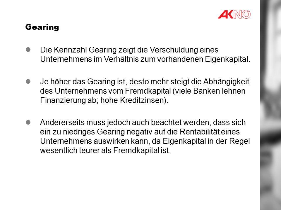Gearing Die Kennzahl Gearing zeigt die Verschuldung eines Unternehmens im Verhältnis zum vorhandenen Eigenkapital.