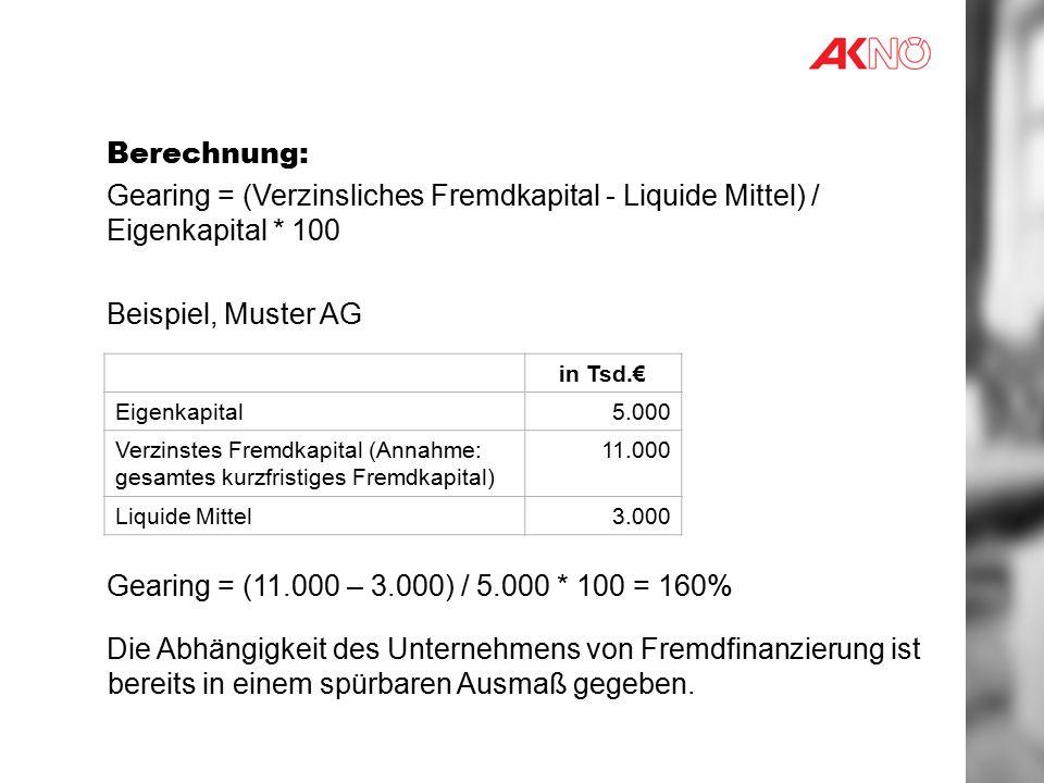 Berechnung: Gearing = (Verzinsliches Fremdkapital - Liquide Mittel) / Eigenkapital * 100. Beispiel, Muster AG.