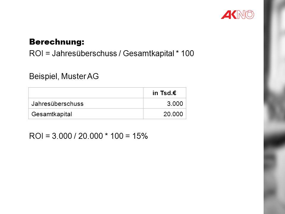 ROI = Jahresüberschuss / Gesamtkapital * 100 Beispiel, Muster AG