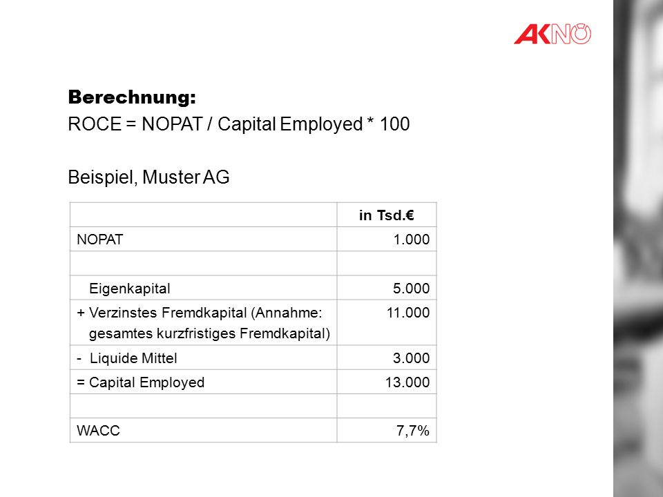 ROCE = NOPAT / Capital Employed * 100 Beispiel, Muster AG
