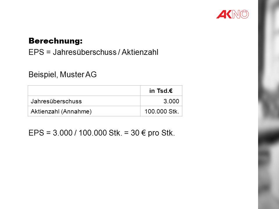 EPS = Jahresüberschuss / Aktienzahl Beispiel, Muster AG