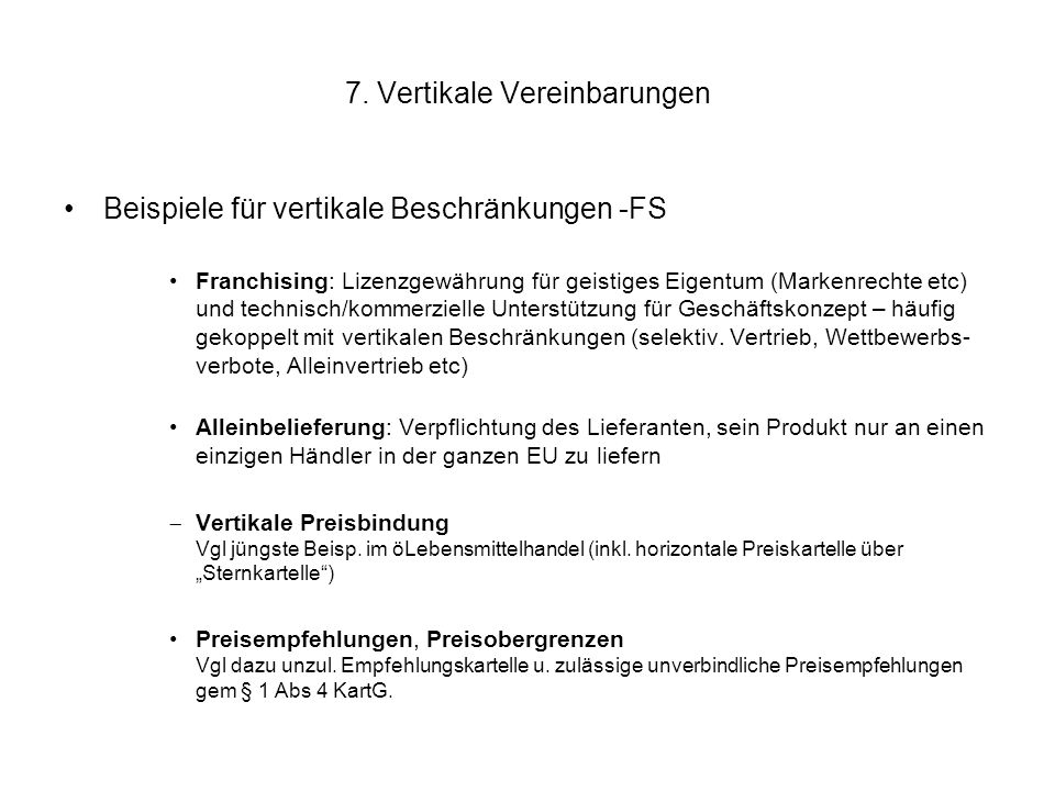 7. Vertikale Vereinbarungen