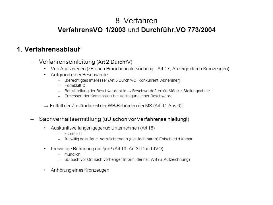 8. Verfahren VerfahrensVO 1/2003 und Durchführ.VO 773/2004