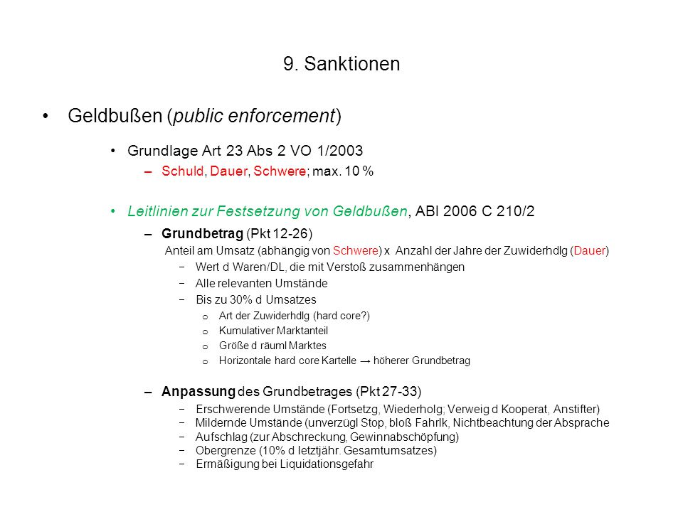 Geldbußen (public enforcement)