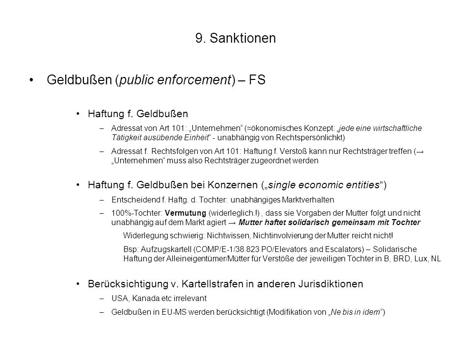 Geldbußen (public enforcement) – FS