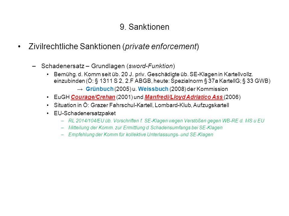 Zivilrechtliche Sanktionen (private enforcement)