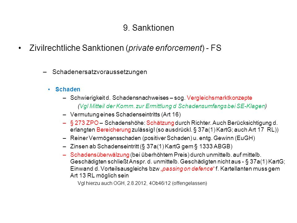 Zivilrechtliche Sanktionen (private enforcement) - FS