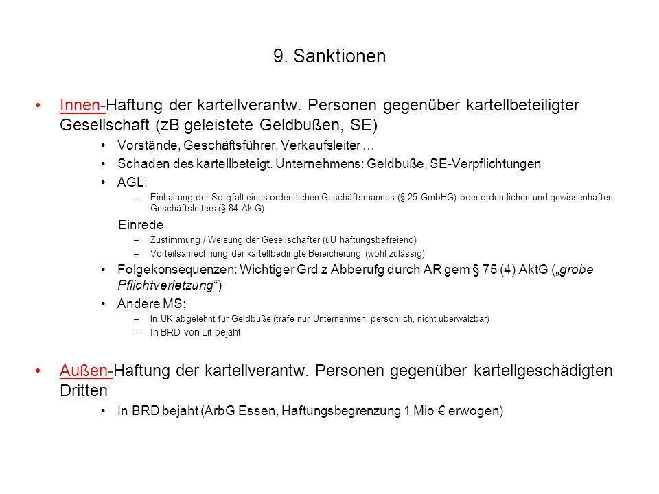 9. Sanktionen Innen-Haftung der kartellverantw. Personen gegenüber kartellbeteiligter Gesellschaft (zB geleistete Geldbußen, SE)