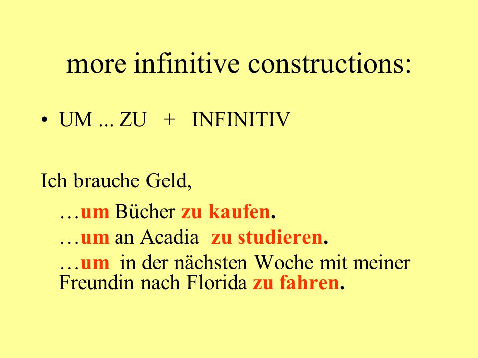 more infinitive constructions: