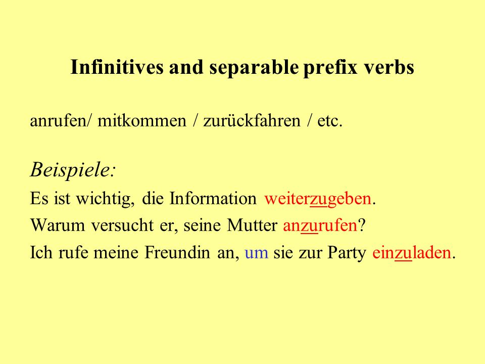 Infinitives and separable prefix verbs