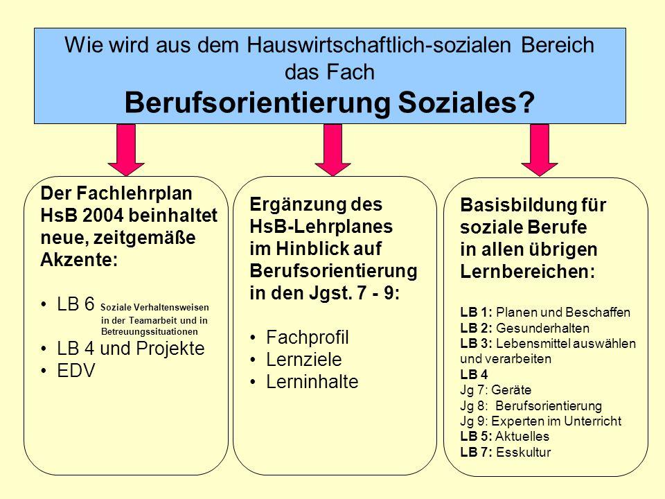 Wie wird aus dem Hauswirtschaftlich-sozialen Bereich das Fach Berufsorientierung Soziales