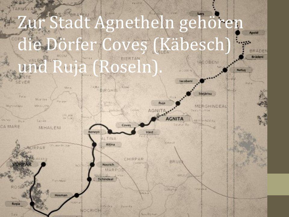 Zur Stadt Agnetheln gehören die Dörfer Coveș (Käbesch) und Ruja (Roseln).
