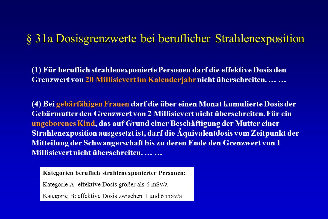 § 31a Dosisgrenzwerte bei beruflicher Strahlenexposition