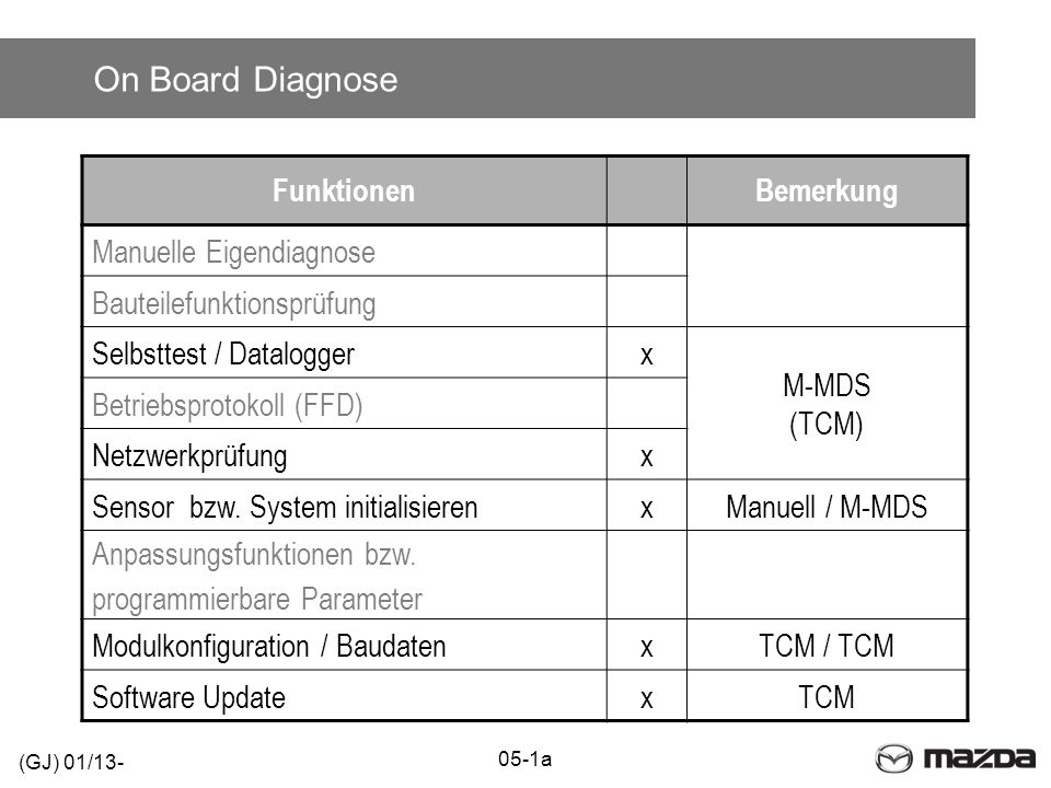 On Board Diagnose Funktionen Bemerkung Manuelle Eigendiagnose