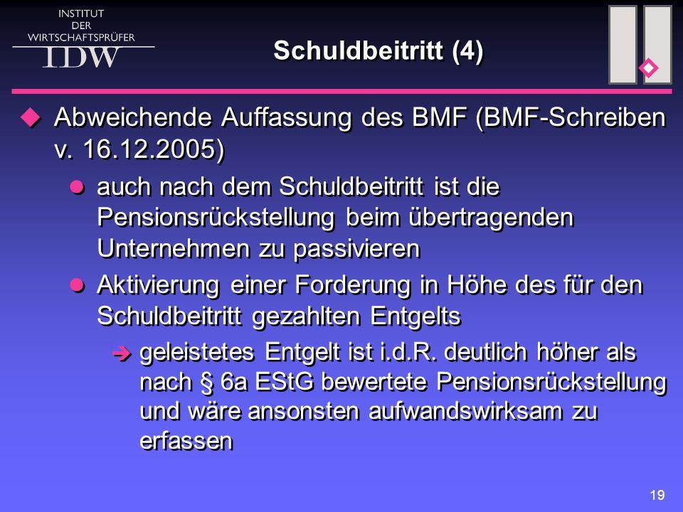 Abweichende Auffassung des BMF (BMF-Schreiben v. 16.12.2005)
