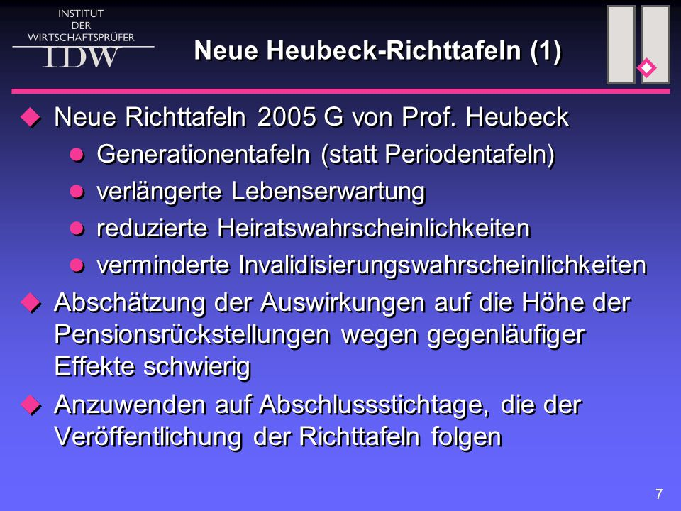 Neue Heubeck-Richttafeln (1)