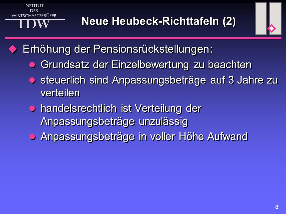Neue Heubeck-Richttafeln (2)