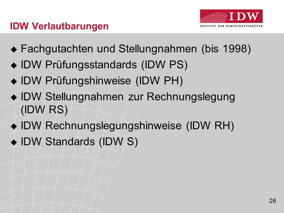 Fachgutachten und Stellungnahmen (bis 1998)