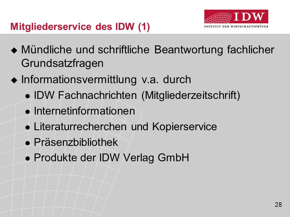 Mitgliederservice des IDW (1)
