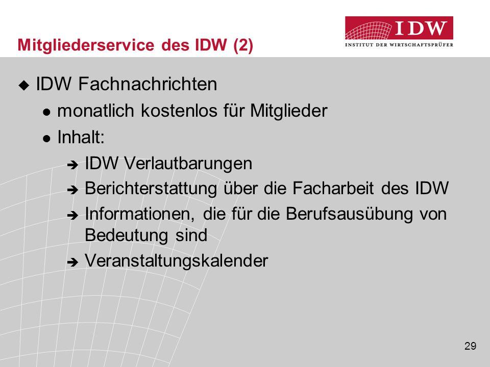 Mitgliederservice des IDW (2)
