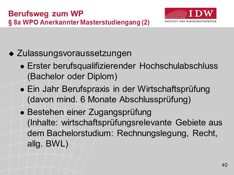 Berufsweg zum WP § 8a WPO Anerkannter Masterstudiengang (2)
