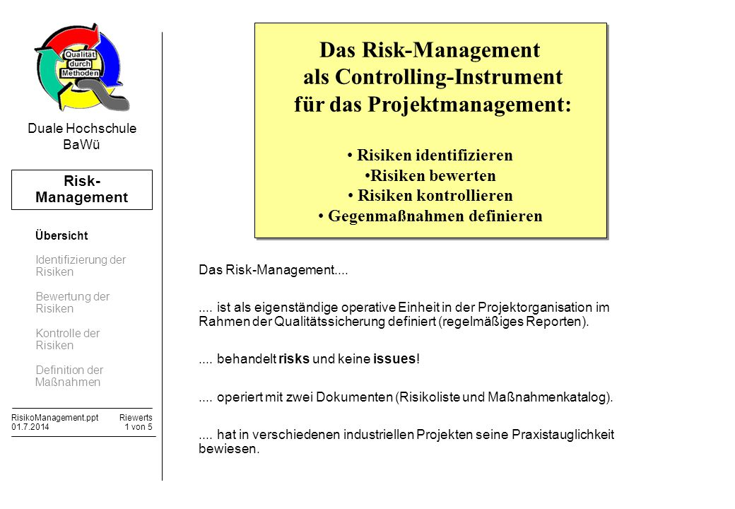 als Controlling-Instrument für das Projektmanagement: