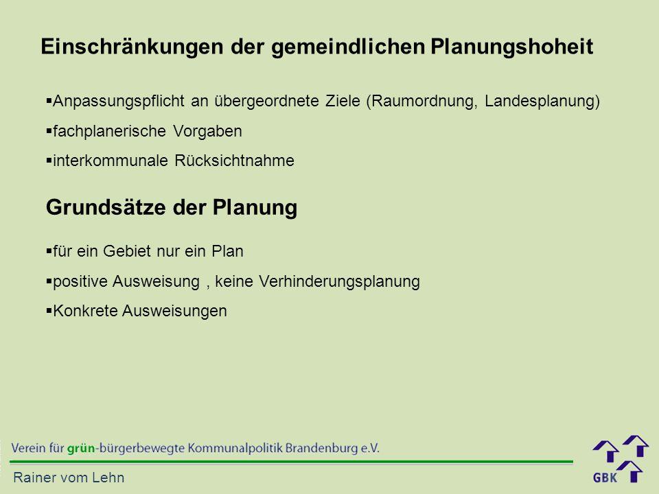 Einschränkungen der gemeindlichen Planungshoheit