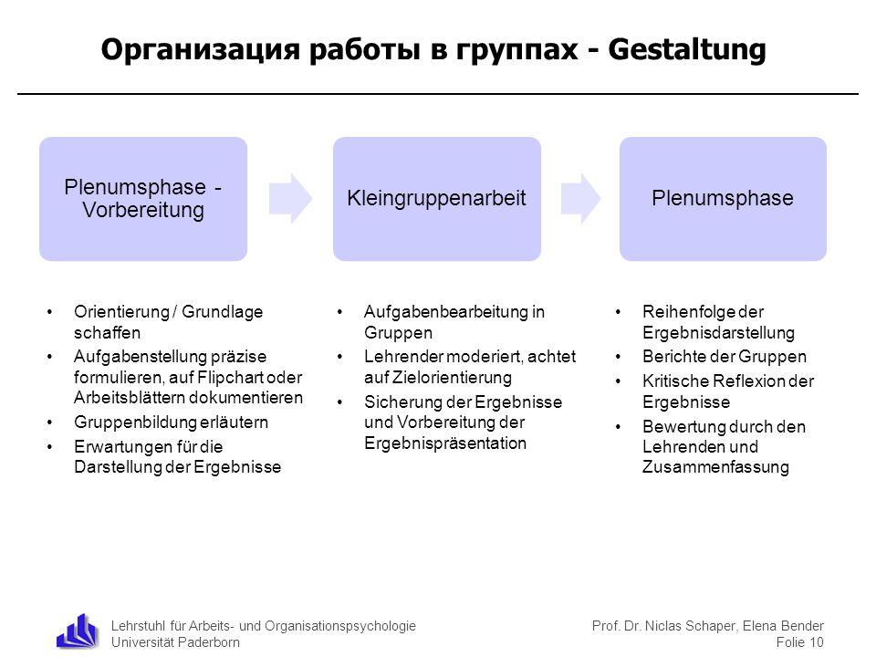 Организация работы в группах - Gestaltung