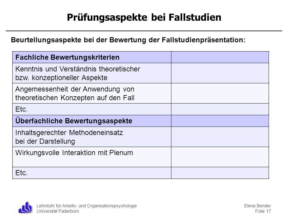 Prüfungsaspekte bei Fallstudien