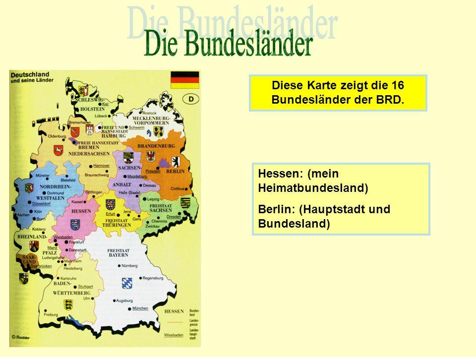 Diese Karte zeigt die 16 Bundesländer der BRD.