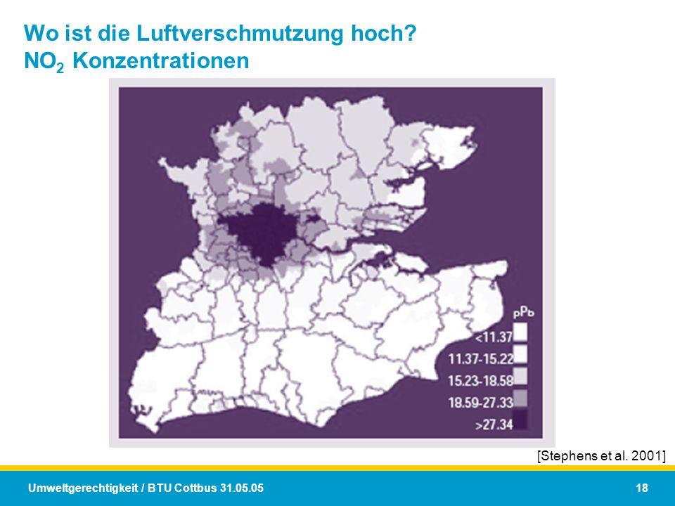 Wo ist die Luftverschmutzung hoch NO2 Konzentrationen