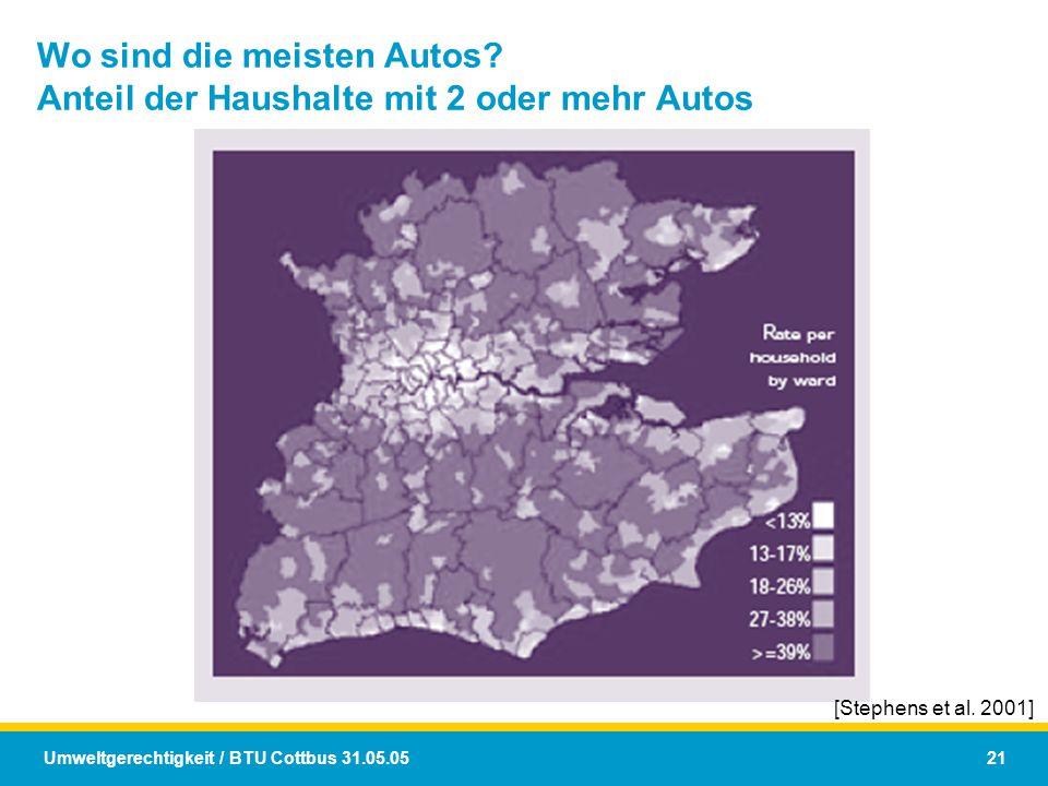Wo sind die meisten Autos Anteil der Haushalte mit 2 oder mehr Autos