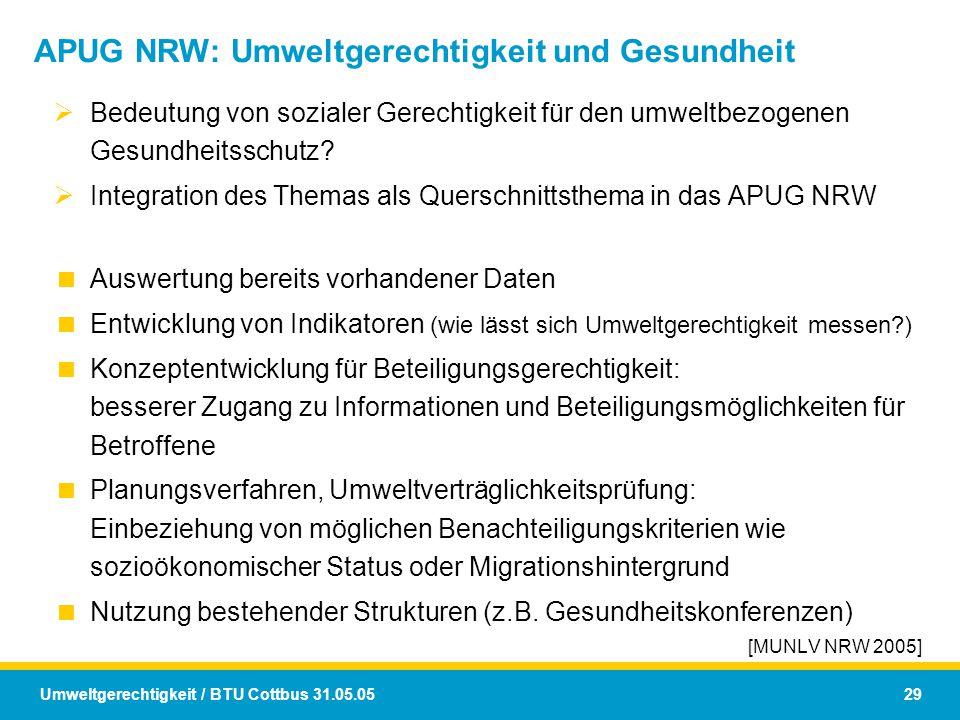 APUG NRW: Umweltgerechtigkeit und Gesundheit