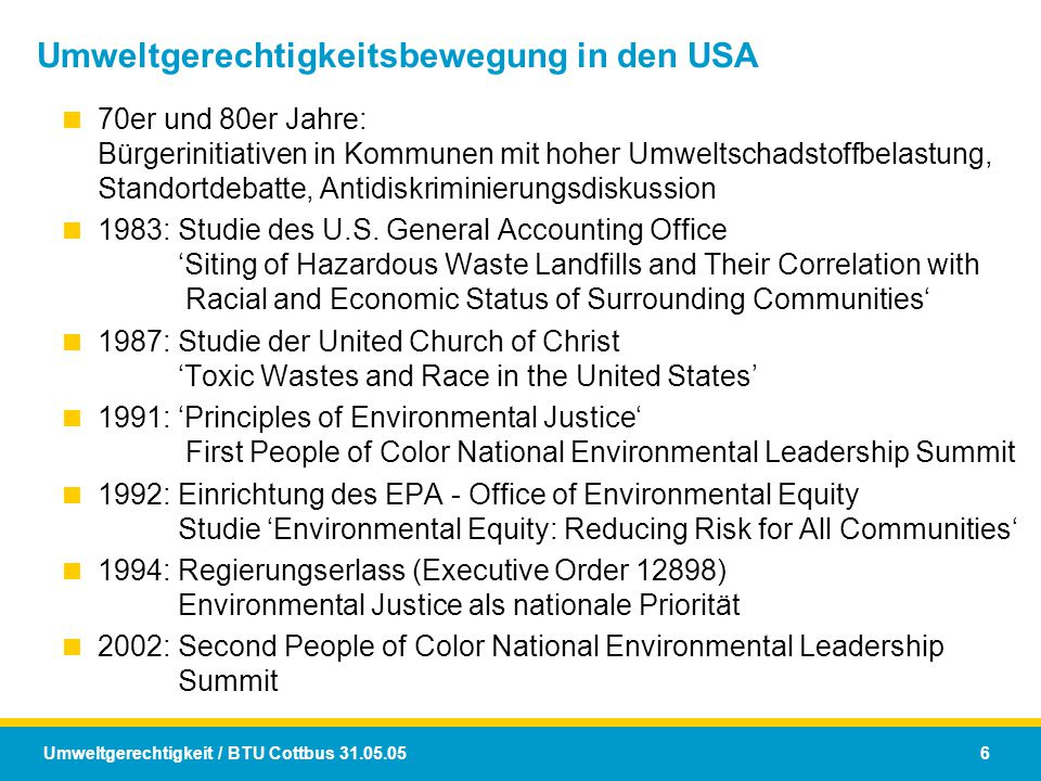 Umweltgerechtigkeitsbewegung in den USA